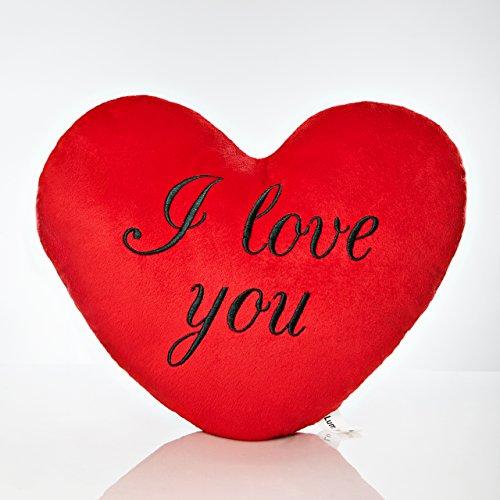 Lumaland Herzkissen mit I Love You Schriftzug zum Valentinstag - Kissen 35 cm Rot in Herzform Zierkissen Knuddelkissen Plüschkissen - Geschenkidee - kuschelig weich - schwarz Bedruckt
