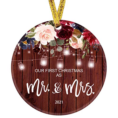 Our First Christmas as Mr & Mrs Ornament 2021 1st Year Married Newlyweds 3' Flat Circle Porcelain Ceramic Wedding Ornament (Mr & Mrs)