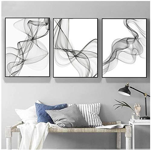 QIAOO Cuadro de Lienzo Vogue, Pinturas de líneas onduladas abstractas en Blanco y Negro, póster Minimalista e Impresiones de Arte de Pared, decoración del hogar para Sala de Estar sin Marco