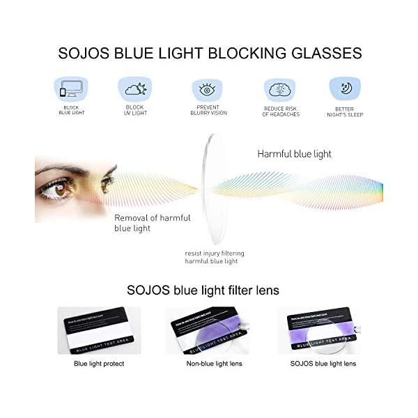 SOJOS Blue Light Blocking Glasses for Women Eyeglass Frames TR90 Double Bridge SJ5043