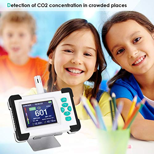 TTLIFE CO2-Detektor, erkennt CO2-Konzentration, Temperatur, Luftfeuchtigkeit, mit PDF-Datenausgabe-Funktion, hohe Präzision, 0-9999 ppm mit Datenexport und Überschreitung