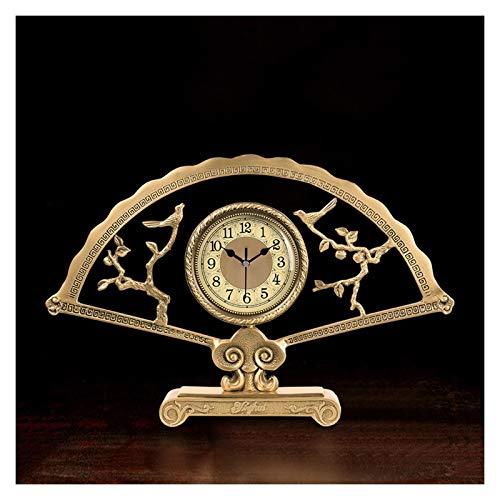 zlw-shop Decorativo Reloj Reloj de latón en Forma de Ventilador Reloj de Mesa clásico decoración de Mesa de Mesa Reloj de Escritorio de una Cara con batería 15.9 Pulgadas Reloj de Mesa