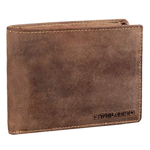 STILORD 'Ethan' Cartera de Elegante Piel Vintage para Hombre Billetera y Monedero Masculino para Tarjetas Monedas y Billetes de auténtico Cuero, Color:Used Look - marrón