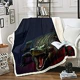 Feelyou Crocodile Sherpa Blanket Wild Alligator Pattern Blanket for Couch Travel Sofa Teens Ultra Soft Wildlife Style Fleece Blanket Horror Animal Theme Bed Decor Fuzzy Blanket Twin 60'x80'