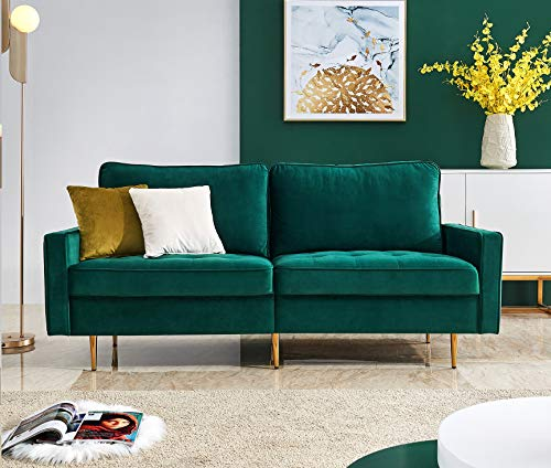 "Rhomtree Mid Century Sofa Velvet Fabric Upholster Couch 71"" Modern Sectional Futon Bench Loveseat Living Room Sofa with 2 Throw Pillows (Green)"
