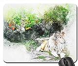 Alfombrilla de ratón para Juegos 30 * 25 * 0.3cm Alfombrilla para ratón Flores para Perros Arte Animal Acuarela Abstracta con Bordes cosidos para el hogar y la Oficina Antideslizante