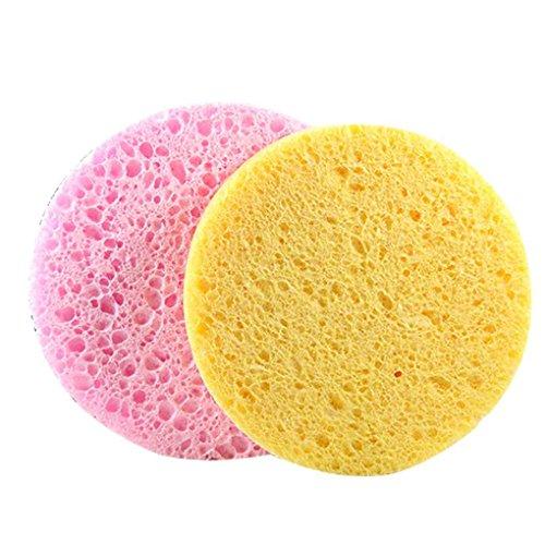 Babysbreath17 2pcs/set naturel Épaissir coton Pâte à papier ronde du visage doux Puff huile lavage nettoyage Rose Jaune éponge