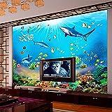 Papel Pintado Autoadhesivo Personalizado Hd Mundo Submarino Tiburón Peces Tropicales 3D Mural Acuario Sala De Estar Tv Niños Dormitorio Telón De Fondo,430(W)*300(H)Cm