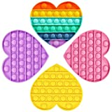HiUnicorn 4 Pack Unicorn Heart Fidget Toys with Popping Sounds BPA Free, Colorful Pineapple Strawberry Fruits Bubbles Toys Gifts for Girls, Sensory Toys for Kids (Colorful Heart 4 Pack)