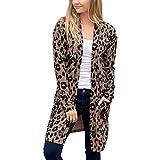 ZYUEER Femme Sweatshirt Cardigan Manteau Blouson Elegant Pull Casual Gilet Imprimé LéOpard avec Poche Pullover Blouson Tops Mode Pas Cher (Café, XXL)