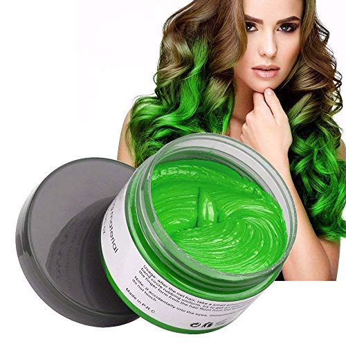 Natural Hair Wax Color Styling Cream Mud, Adofect Natural Hairstyle Dye Pomade, Temporary Hairstyle Cream 4.23 oz, Hairstyle Wax for Men and Women, Green