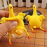 Juguete de pollo para apretar huevos para poner, llavero de pollo para poner huevos, juguetes divertidos para aliviar el estrés de huevos y gallinas, novedosos juguetes para ventilar la ira