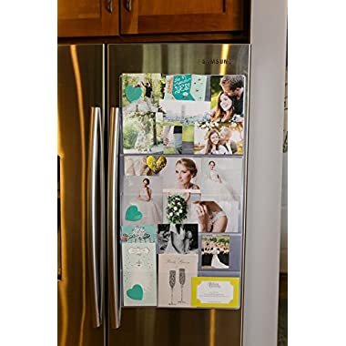 Fridge Gallery - (Background: Stainless Steel) Magnetized Photo and Card Display System. Conveniently Organize and Display Photos, Cards & More On Your Fridge Or Other Surfaces. (10 Designs Available)