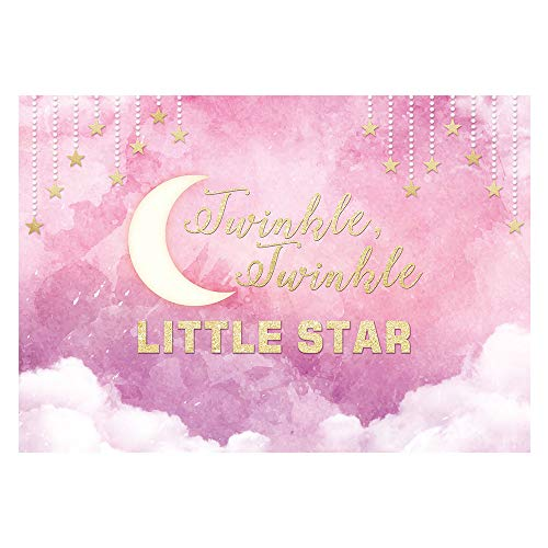 Funnytree 7X5ft Pink Twinkle Little Star Backdrop for Birthday Party Clouds Baby Girl Princess Photography Background Watercolor Shower Decorations Photo Booth Cake Table Banner