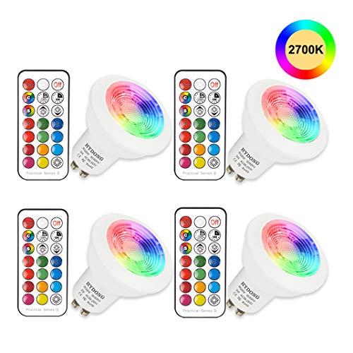 HYDONG Bombilla de RGB de 3 vatios con mando a distancia regulable por 24 teclas para lámpara de pared, lámpara de riel y luz de techo empotrada (12 colores) Blanco cálido 3 vatios