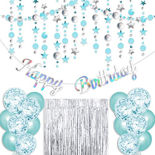 Irichna Teal Birthday Party Decoration - Sliver Happy Birthday Banner, Blue Glitter Circle Dot Garland, Sliver Fringe Curtain, Blue and Sequins Balloons, for Women Turquoise Birthday Party Decoration