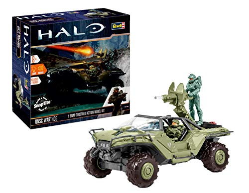 Revell Build & Play 00060 Modellbausatz Halo 5 UNSC-Warthog, Light und Sound Effekte, Spielfigur im Maßstab 1:32, Level 2, einfacher Steckbausatz mit vielen Details