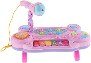 Perfeclan Kids Musical Electronic Keyboard with Microphone Educational Toy - Pink, 29.5 x 15.5 x 9.5cm
