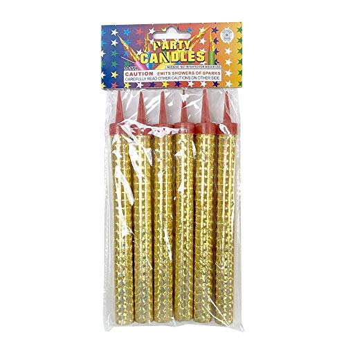 Silver Candles, Used for Birthday Cakes, Parties, Weddings, Bottling Services, Nightclubs, Restaurants, Anniversaries, Parties, Celebrations, smokeless 1 Pack (6 Silver)