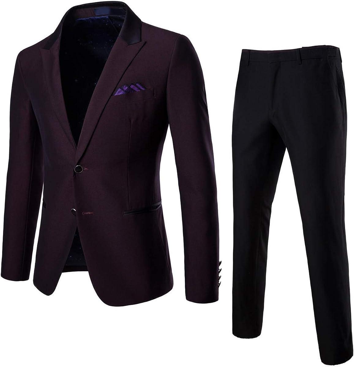 Frank Men's One Button Purple Suit Jacket Pants Peak Lapel Wedding Suits Groom Tuxedos