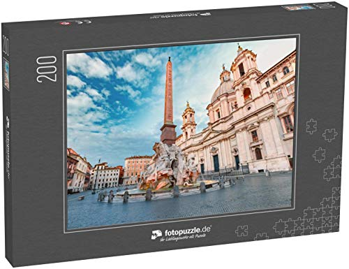 fotopuzzle.de Puzzle 200 Teile Brunnen der Vier Flüsse mit einem ägyptischen Obelisken und der Kirche Sant Agnese auf dem berühmten Platz Piazza Navona am Morgen in Rom (1000, 200 oder 2000 Teile)