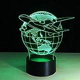 Las Ilusiones 3D Vuelan El Globo Terráqueo Del Mundo Avión Lámpara Led 3D Escultura De Arte Luces En Colores Lámpara De Ilusión Óptica 3D Con Botón Táctil