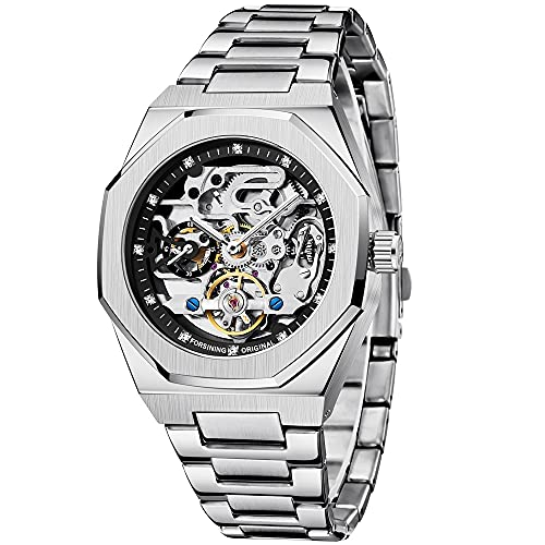 Mode Silberne Herrenuhr Top-Marke Luxus automatische mechanische Edelstahl Modegeschäft Hohle Uhr (FOR8202-silver&Black) (FOR8202-silver&Black)