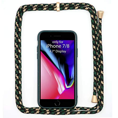 JOPE Handykette für iPhone 7/8 Grün umweltfreundlich aus Bioplastik. Handy Hülle mit Verstellbarer Kordel. Smartphone Necklace Case mit Band zum umhängen. Nachhaltig und 100% kompostierbar.
