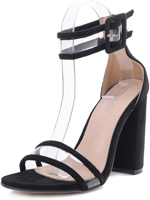 Guopin Open Toe Schuhe - Transparente Gürtelschnalle High Heels - Prom Fashion Sandalen,A,39  | Die erste Reihe von umfassenden Spezifikationen für Kunden