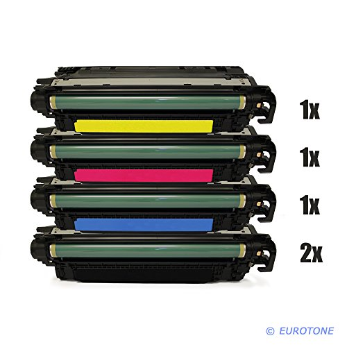 Eurotone High Quality Toner Cartridges kompatibler für HP Color Laserjet CP-4025 CP-4520 CP-4525 Patronen ersetzten 2x CE260A, 1x CE261A, 1x CE262A, 1x CE263A Patronen im er Spar Set - kompatible Premium Kit Alternative - non oem