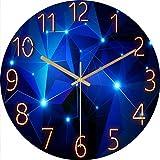 LucaSng Reloj de pared silencioso de 12 pulgadas, sin ruido de tictac, galaxia, estrellas, cielo estrellado, decoración para el hogar, salón, habitación infantil (estilo F)