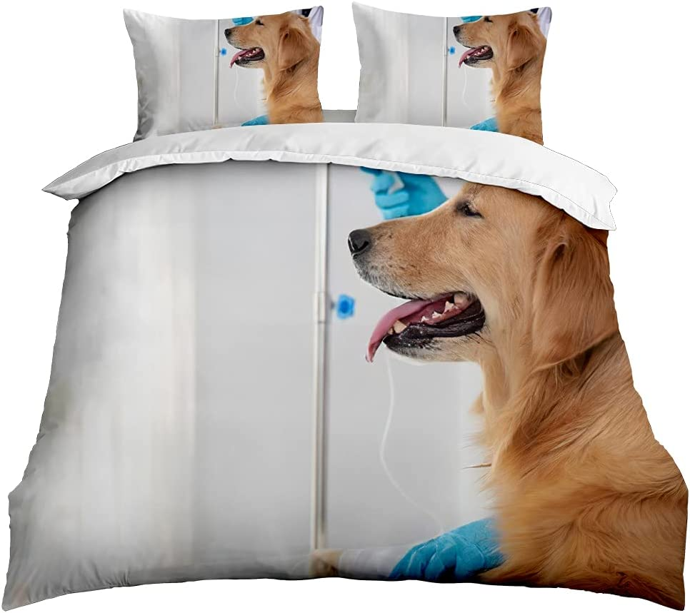 FRFFASHION Animals Duvet Cover Our shop Mail order OFFers the best service Set Ult Retriever Golden 3-Pieces