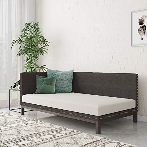 DHP Dale Upholstered Daybed/Sofa Bed Frame, Twin Size, Grey Linen