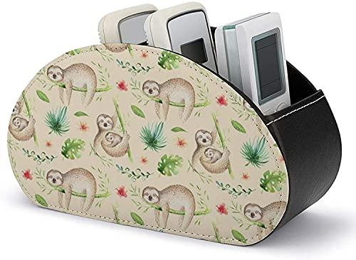 Supporto per telecomando con 5 scomparti-PU Leather Baby Animals Sloth Nursery Remote Caddy Desktop Organizer per telecomando TV / controller DVD