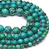 Oameusa 8mm Piebald Turquoise Beads Round Beads Gemstone Beads Loose Beads Agate Beads for Jewelry Making 15' 1 Strand per Bag-Wholesale