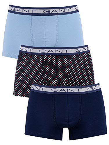 GANT Herren Diamond DOT Basic Trunk 3-Pack Boxershorts, Persian Blue, L