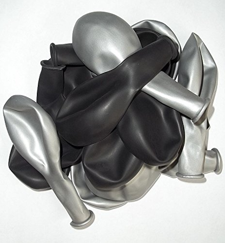 100 schwarz-silber-metallic Farben- Luft-Ballons glänzend-metall-Feier-Deco-Geburtstag-Fete-Helium-geeignet Europäische Ware