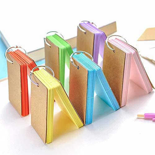 gkood 300Teile Multicolor Papier Binder Ring Easy Flip Flash Card Studie Karten/Memo scratchpads/Lesezeichen/DIY Grußkarte/Index-Karte Lager/Note (6-Set, 50Blatt pro Set)