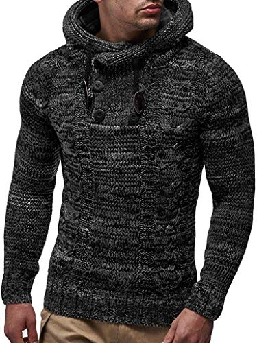 COOFANDY Men's Hoodie Sweater Slim Fit High Neck Knit Sweater Autumn Winter