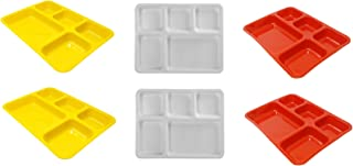 LIFEPLAST Anti-Damage Microwave Safe Food 5 Compartment Divided Polypropylene Dinner Plates -Set of 6 (Multicolor Set)