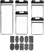 TOPBATHY 5Pcs Clear Empty Plastic Storage containers with Lids Kitchen Storage Can Transparent Storage Canister Kitchen Se...