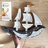 Little Lights Schiff Wal Lampe Nachtlicht für Kinder mit Timer und Dimmer navy