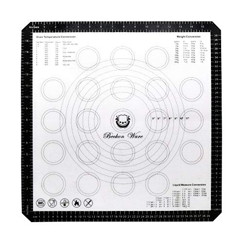 Beckon Ware Nonstick Silicone Baking Mat - Extra Large Silicone Mat with Guides for Use as a Cookie Mat, Fondant Mat, Macaron Mat or Pastry Mat for Rolling Dough Non Slip Extra Large 18 inch Square