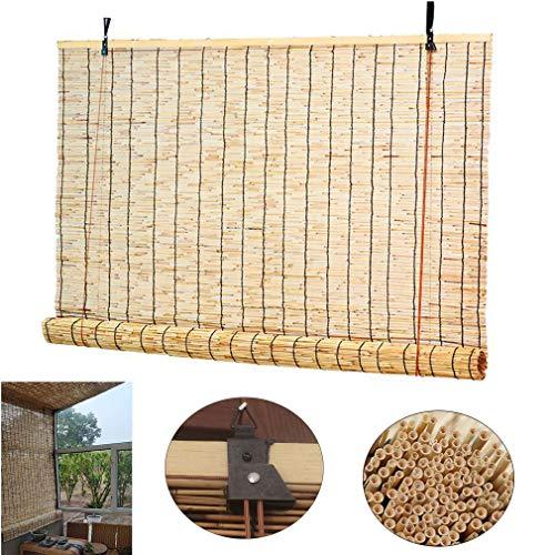 Zlovne Bambusrollo Rollo Bambus Bambusjalousien,Sonnenschirm Verdunkelungsrollo,Natürliche Schilf Vorhang,mit Lifter,Sonnenschutz/Atmungsaktiv (150x230cm/59x91in)