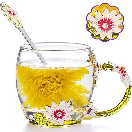 COAWG Teetasse aus Glas Emaille Große Glasbecher Chrysantheme Kristallklares Glas Tee Kaffeetassen mit Blumengriff Lehrer Freund Geburtstag Valentinstagsgeschenk fürFrauen und Männer 11oz-1pack