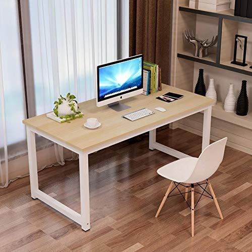 Escritorio para ordenador, mesa pequeña para juegos, mesa de oficina, 140 x 60 x 75 cm, para casa, oficina, fácil montaje, metal y madera, diseño claro, roble blanco