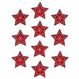 Oblique Unique® 10 estrellas de madera en rojo para colgar decoración de mesa de Navidad para calendario de Adviento, corona de Adviento, regalo, decoración de Navidad