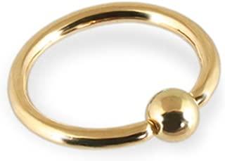 16 Gauge 5//16 Inch 3mm Bead 14K Solid Gold Captive Bead Ring Hoop CBR Body Jewelry C96
