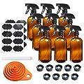9 Pack Glass Spray Bottle 16oz, Empty Amber Spray Bottle…