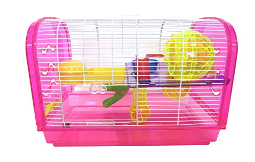 YML Clear Plastic Dwarf Hamster Mice Cage Dome with Color Accessories, Pink